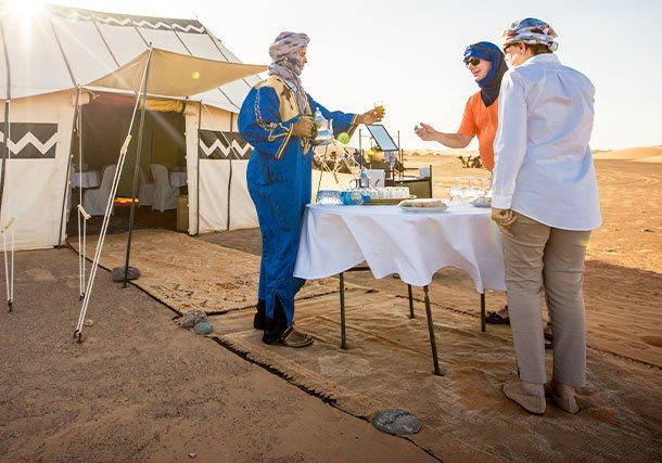 Africa Morocco Desert Camp Mint tea guests search