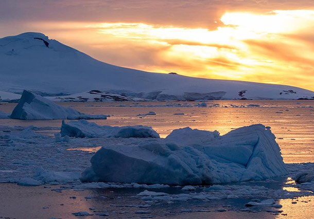 Antartica Sunset Icebergs search
