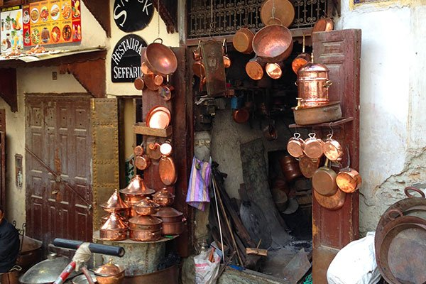 One of the souks selling copper cook pots and utensils