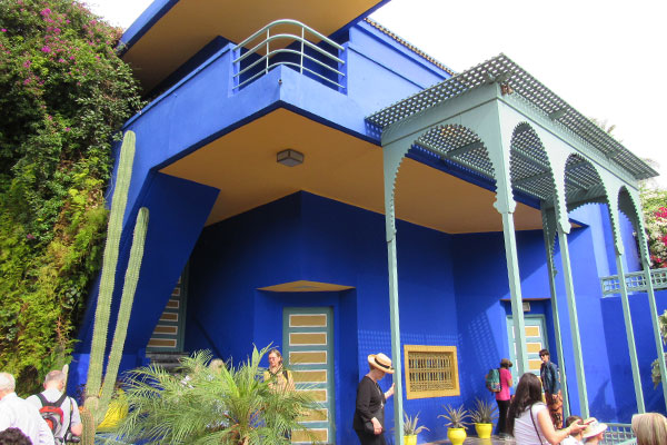 The bright blue Berber Museum on the grounds of the Jardin Marjorelle in Marrakech.