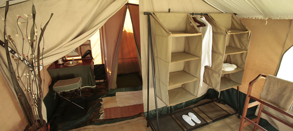 guest tent bathroom and storage space