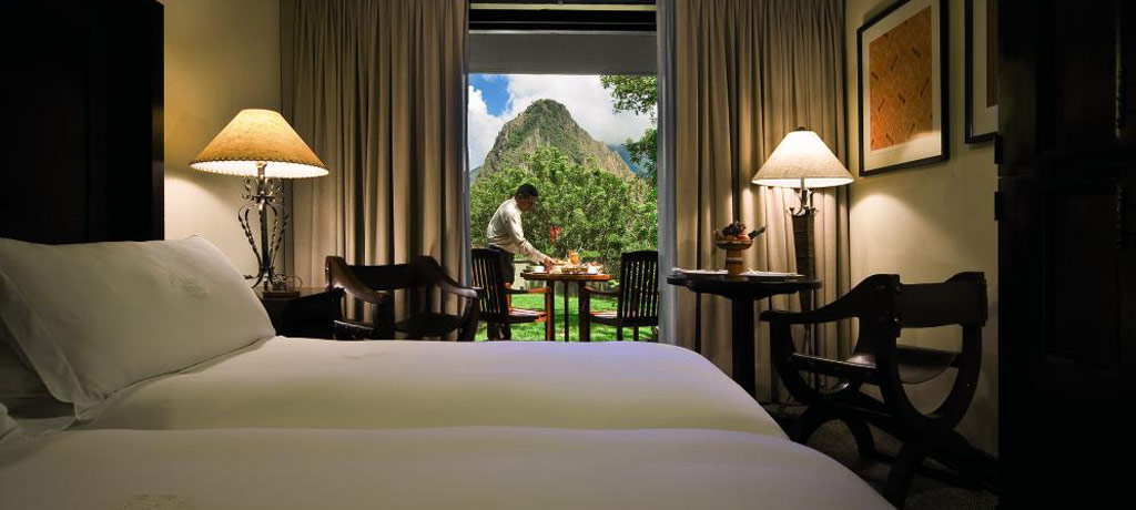 twin room with terrace and view of huayna picchu mountain