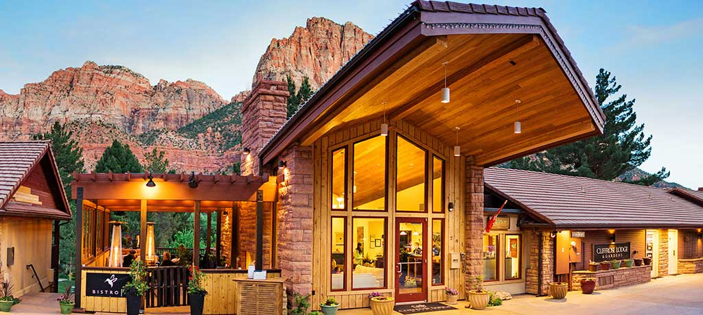 North America Utah Zion National Park Cliffrose Lodge exterior