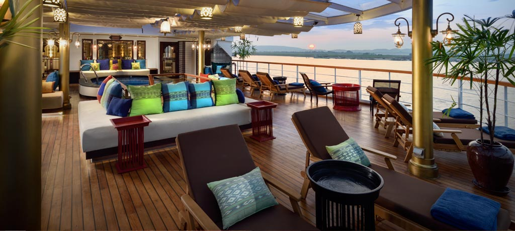 asia myanmar sanctuary ananda the ship sundeck at sunset