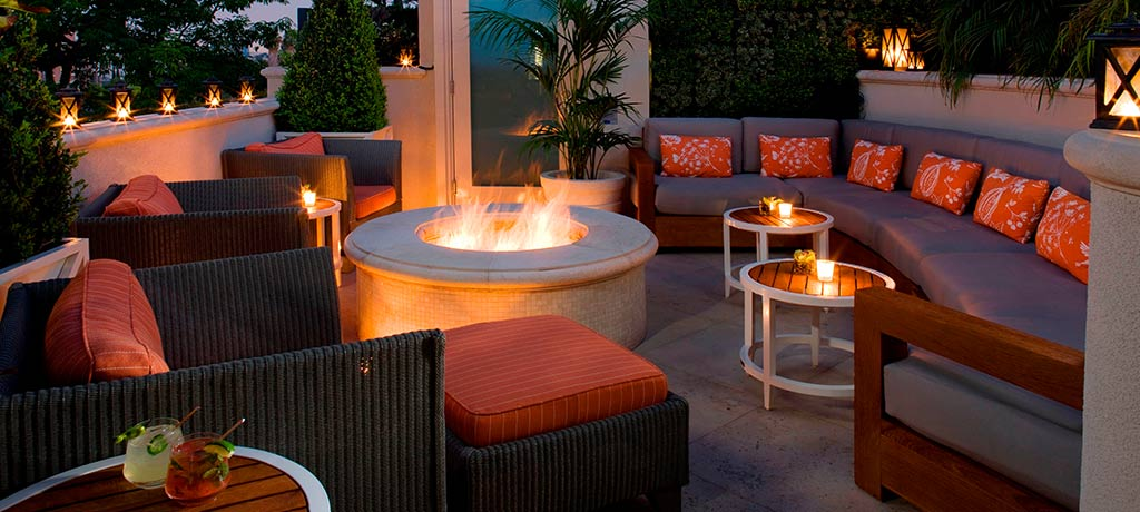 fire pit in the roof garden