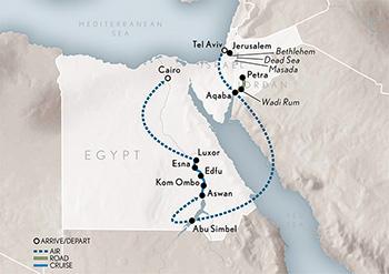 Jordan Egypt Map.Wings Over Israel Jordan Egypt Abercrombie Kent
