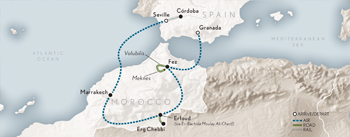Itinerary map of Wings Over Spain & Morocco