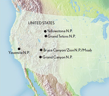 Tour The US National Parks The West - Map of national parks in united states