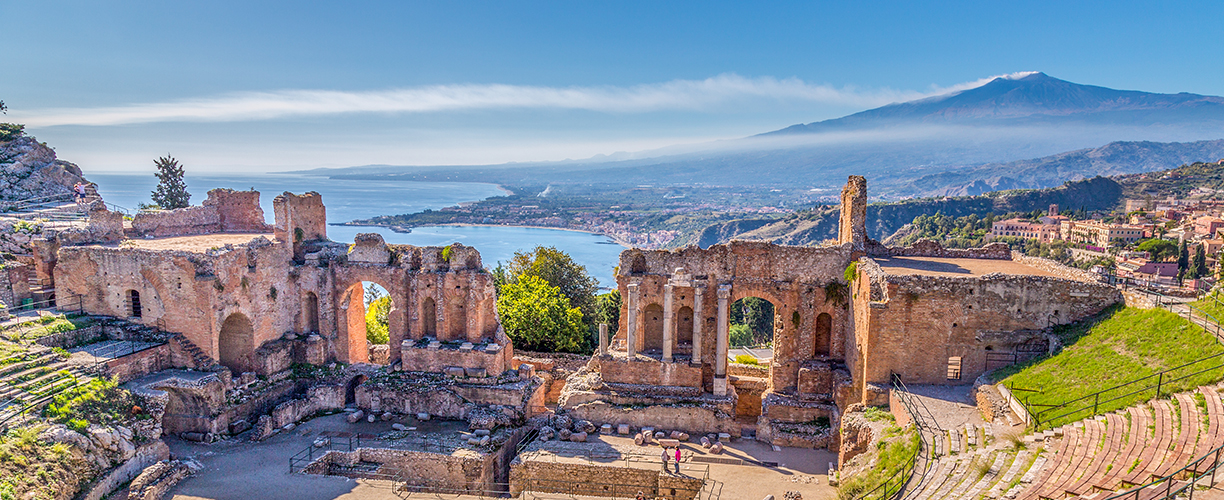 Europe Italy Sicily Taormina Theater