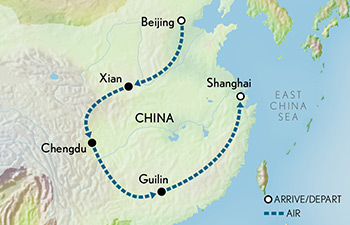 Tailor Made China: Beijing to Shanghai Map