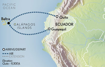 Itinerary map of Galápagos Holiday Adventure