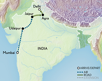Itinerary map of Tailor Made India: The Taj Mahal & Beyond