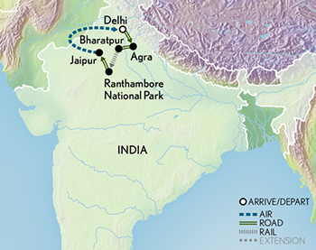 Tailor Made India: Wildlife & the Golden Triangle Map
