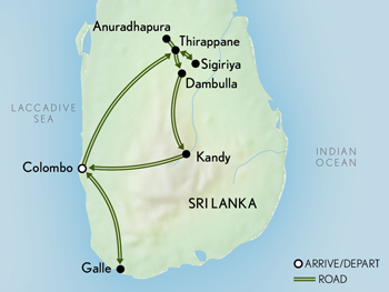 Tailor Made Sri Lanka: Ancient Cities & Sacred Temples Map