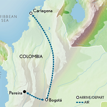 Tailor Made Colombia: Bogotá to Cartagena Map
