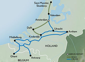 Cruising Holland & Belgium in Bloom Map