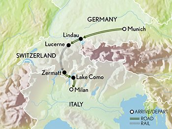 Tailor Made The Alps: From Bavaria to Lake Como Map