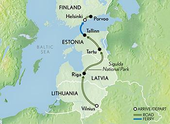 Itinerary map of The Baltics & Helsinki