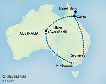 Tailor Made Australia: Uluru, Lizard Island & Beyond Map