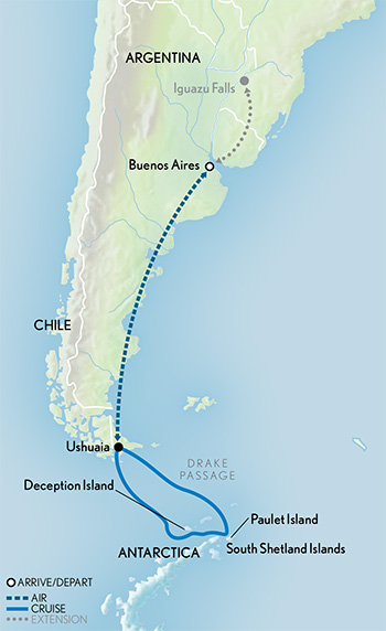 Itinerary map of Classic Antarctica