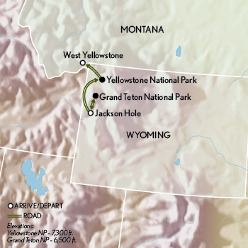 Tailor Made Wyoming: Yellowstone Family Adventure Map