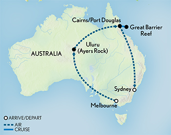 Itinerary map of Tailor Made Australia: The Essential Down Under