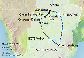 Itinerary map of Signature Botswana