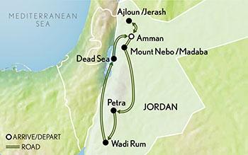 Itinerary map of Tailor Made Jordan: Wonders of the Desert