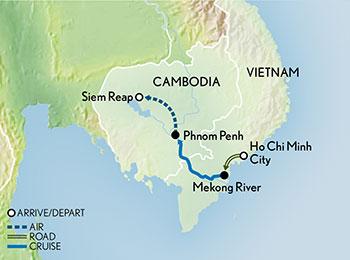 Itinerary map of Tailor Made Vietnam & Cambodia: The Mekong & Angkor Wat