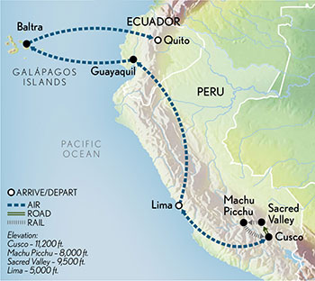 Signature Peru & the Galápagos Map
