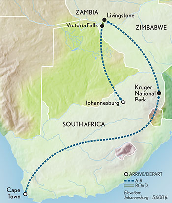 Signature South Africa & Victoria Falls Map