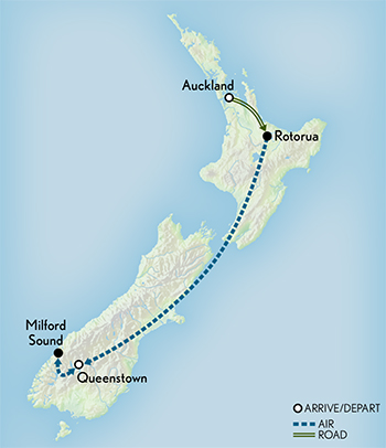 Tailor Made New Zealand: Adventure by Land, Air & Sea Map