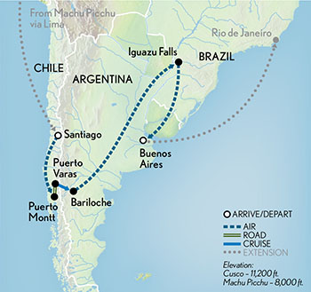 Wonders of Chile & Argentina Map