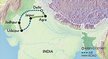 Itinerary map of Signature India & the Riches of Rajasthan
