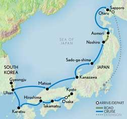 Wonders of Japan Cruise Map