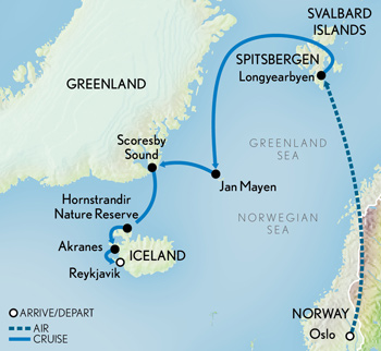 Arctic Cruise Adventure: Norway, Greenland & Iceland Map
