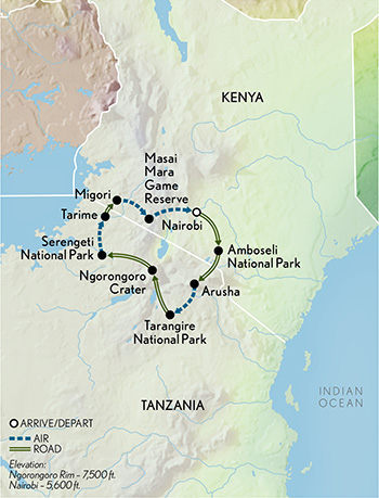 Itinerary map of Signature Great Migration Safari