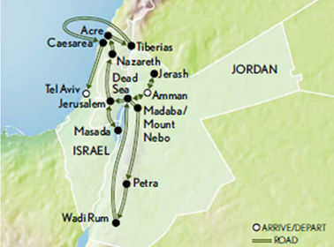 Ancient Wonders: Jordan & Israel Map