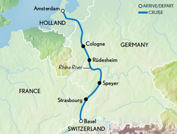 Itinerary map of Art & Architecture Along the Rhine