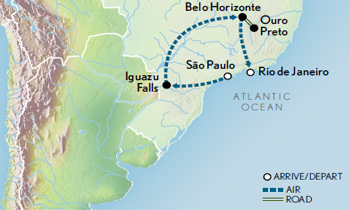 Itinerary map of Brazil: Natural Wonders & Colonial Charms