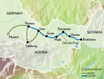 Itinerary map of Christmas Along the Danube