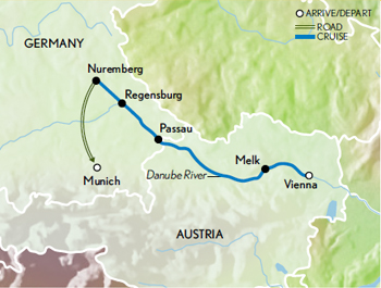 Itinerary map of Christmas Markets Along the Danube