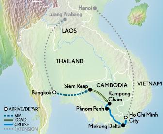 Itinerary map of Cruising the Mekong: Siam, Saigon & Angkor Wat