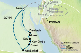 Itinerary map of Egypt & the Nile