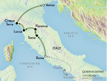 Itinerary map of Essence of Italy