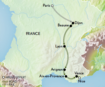 France: From Paris to Provence Map