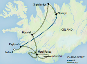 Itinerary map of Iceland: Geysers & Glaciers