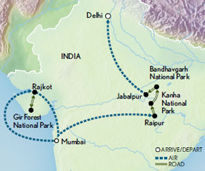 Itinerary map of India Wildlife Safari: Lions, Tigers & Leopards