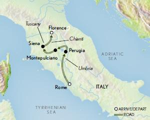 Itinerary map of Italy: Tuscany & Umbria