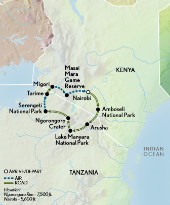 Kenya & Tanzania Wildlife Safari Map